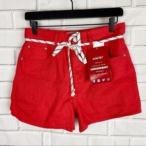 Unionbay shoelace belt red shorts juniors 7